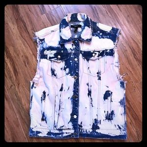 Forever 21 bleach dyed denim Artist vest L